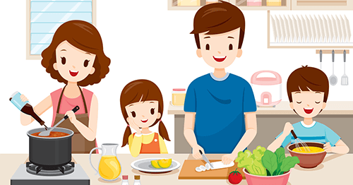 Healthy family cooking